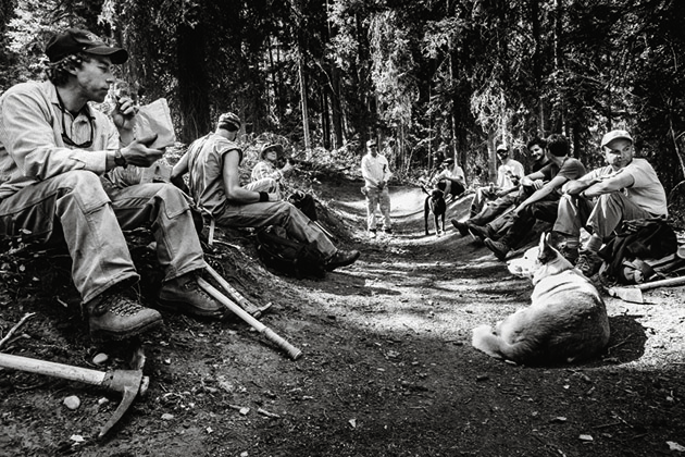 Some of the Teton Freedom Riders take a break during a trail maintenance session on Lithium.