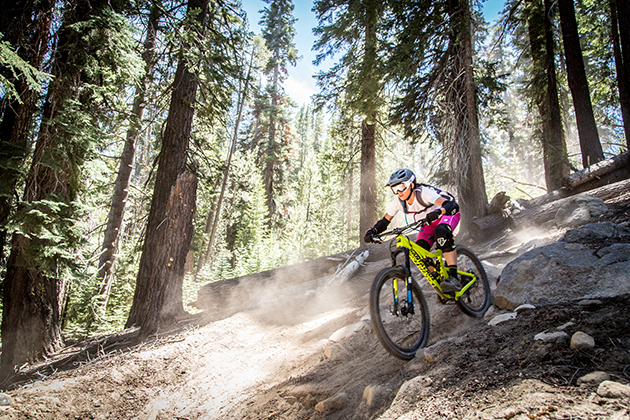 Jackie Harlow gets a good feel for the  challenging terrain in practice. She later took 3rd place in expert women.