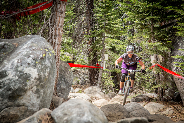 Amy Morrison (Mike's Bikes) finds her way through a rock garden for a 1st place win in a stacked pro women's field.