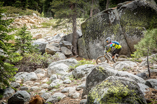Ryan Courreges (Don Bicycle) makes his way through the rock field.