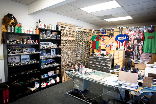 Bryne's office at the Speedplay headquarters in San Diego doubles as a museum for rare and vintage components. It also houses the largest pedal collection in the world.