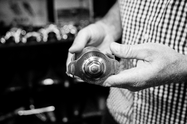 Bryne holds one of his most-prized finds, an 1877 Aeolus, which is the first pedal ever to use ball bearings.