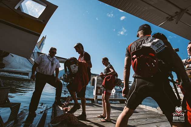 Float planes into the Earls Cove terminal have become a necessary highlight for racers. The small ferry requires options for getting riders to the next stage's start. | Photo by Margus Riga