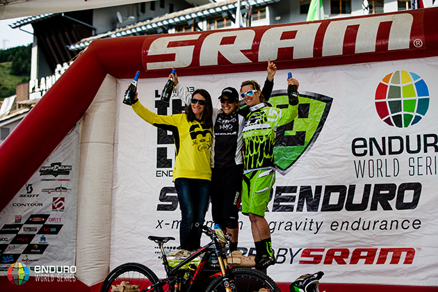 Womens podium. EWS 4 2014, La Thuile. Photo by Matt Wragg.