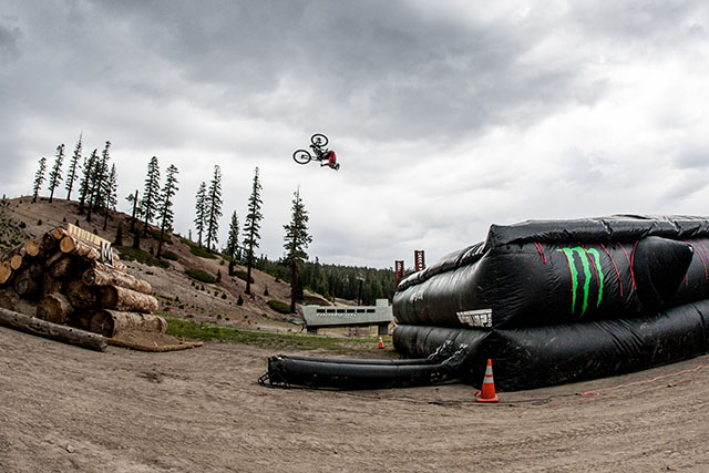 Cam Zink practicing his 100-foot flip earlier this week. Photo by Peter Morning
