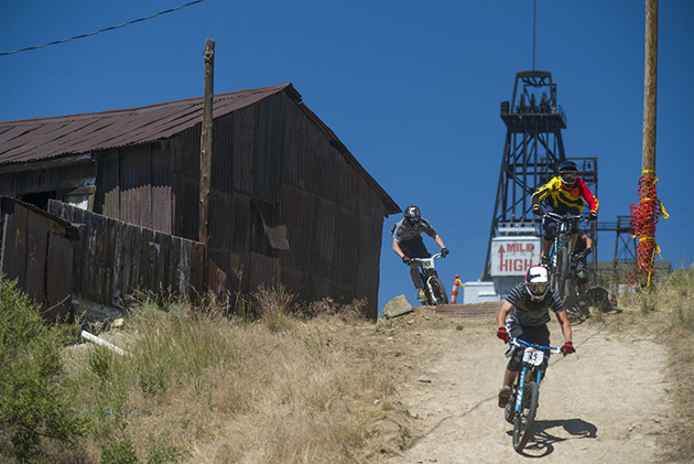 Spectators were treated to fast trains during course inspection.  This rustic neighborhood section featured freshly machine built berms leading to the bitchin' Camaro gap jump.