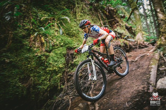 Lea Davison shreds the gnar on her way to victory.   Photo by Margus Riga