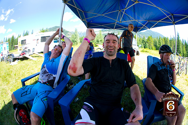 The stage took its toll. By the end, many battered, bruised and otherwise abraded riders entered the misting tent to cool off and clean up, before the short trip into nearby Radium. Tomorrow's stage is near Lake Lillian and Invermere.