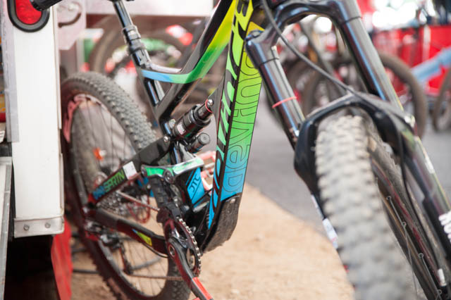 "Yes, this is Damien Oton's ""prototype"" Devinci Spartan. Yes, you're looking at carbon fiber."