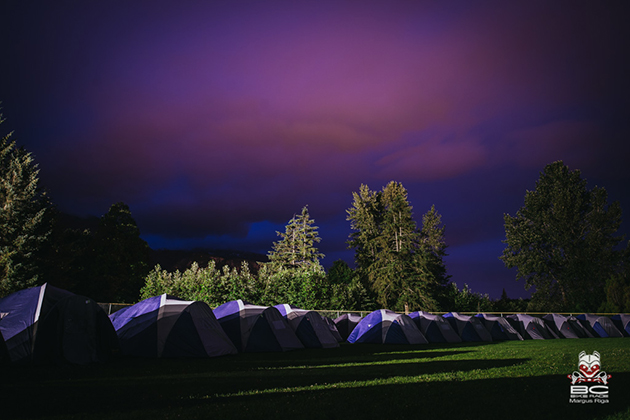 Squamish base camp, under surreal skies.
