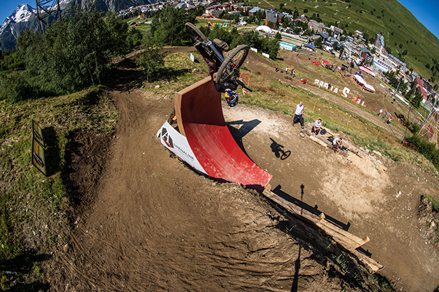 Anthony Messere gets loopy in the slopestyle. He took home his first major win. Photo: Ale Di Lullo/Red Bull