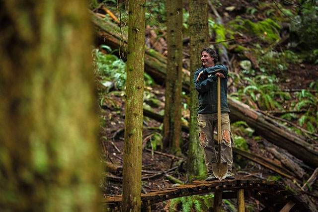 Todd 'Digger' Fiander works on his trails on the North Shore like a full-time job. Photo courtesy of Joystick Components