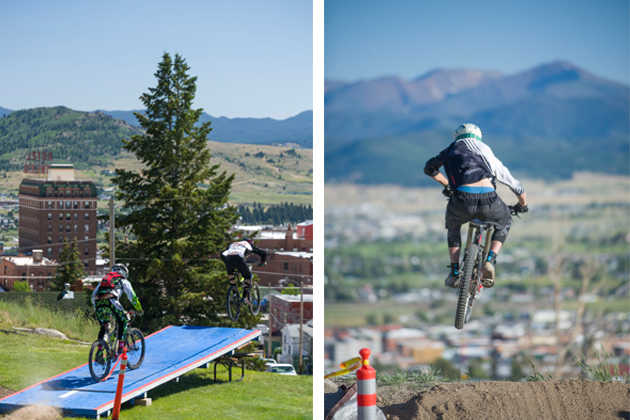 As a tribute to the Legend, one of Evel Knievel's orginal jump ramps was incorporated to the delight of racers and Butte citizens alike.  How COOL is that!?! | Booters with views of the Highland Mountains and the Silverbow Valley.