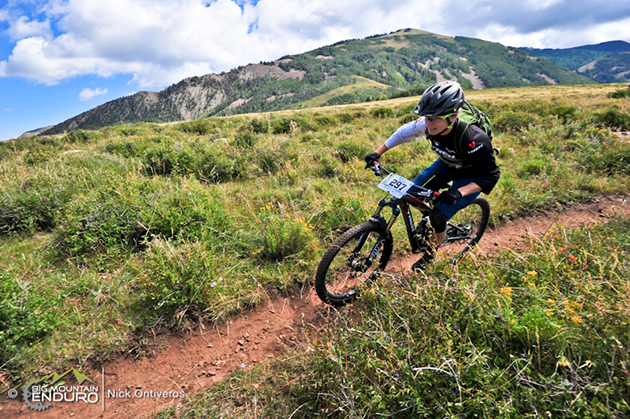 Heather Irmiger gets loose on a straight section of trail on her way to a third place finish on stage 1. Photo by Nick Ontiveros.