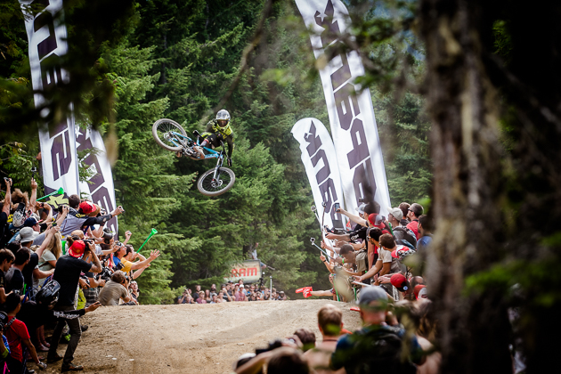 It took a social-media campaign to convince the Crankworx organizers to #LetFinnIn, and there was no stopping 14-year-old Finn Iles from winning the Whip-Off World Champs. Photo by David Reddick.