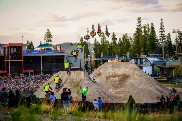 Cam Zink completes the record-breaking backflip at Mammoth Mountain. (Photo by Joe Faraoni / ESPN Images)