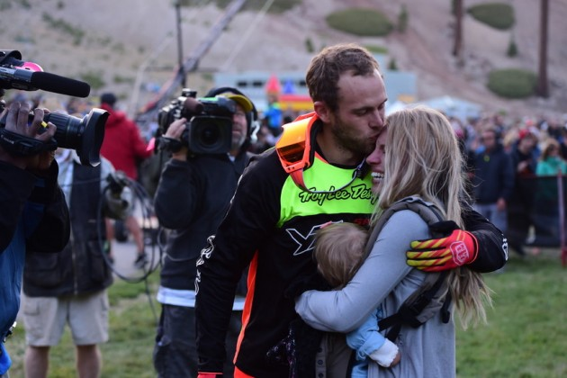 Guinness World Record Holder Cam Zink kisses his wife, after the Mammoth Flip with Cam Zink presented by Monster Energy. .(Photo by Joe Faraoni / ESPN Images)