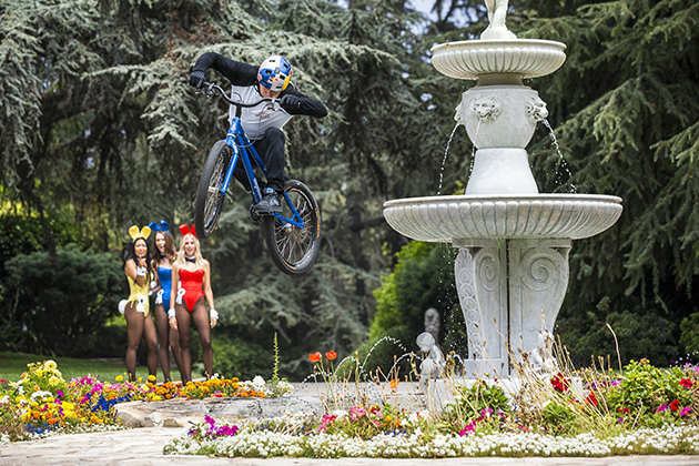 Danny MacAskill jumps over a fountain at Hugh Hefner's Playboy Mansion in Beverly Hills, California. Photo by Garth Milan/Red Bull Content Pool