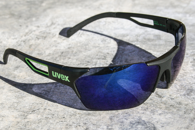 The photochromic lenses change to a dramatic dark tint under the bright sun.