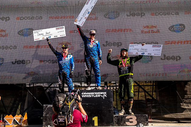 Marcelo Gutierrez, Danny Hart and Connor Fearon take a sweep for the SRAM team in the Canadian Open DH.