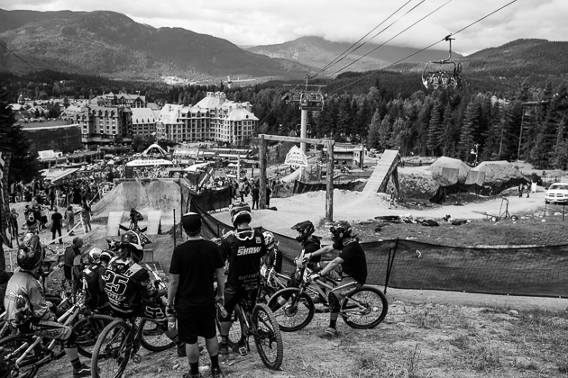 Racers get lined up for last-minute practice in Friday's Crankworx Dual Slalom race. If you didn't have your lines dialed, you had an express ticket straight to the after-party.