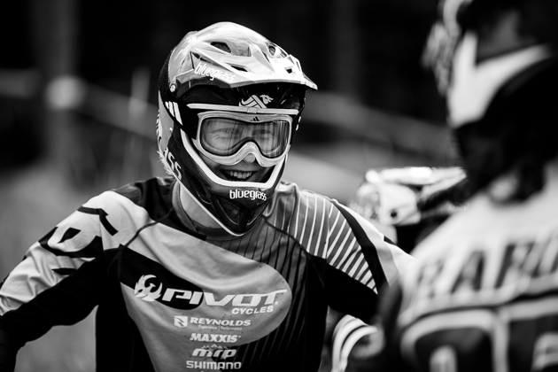 The Crankworx Dual Slalom race attracts riders from all disciplines—downhill, freeride, four-cross and BMX. World Cup downhiller Bernard Kerr rode strong throughout the heats before finally being knocked out by BMX standout Barry Nobles.