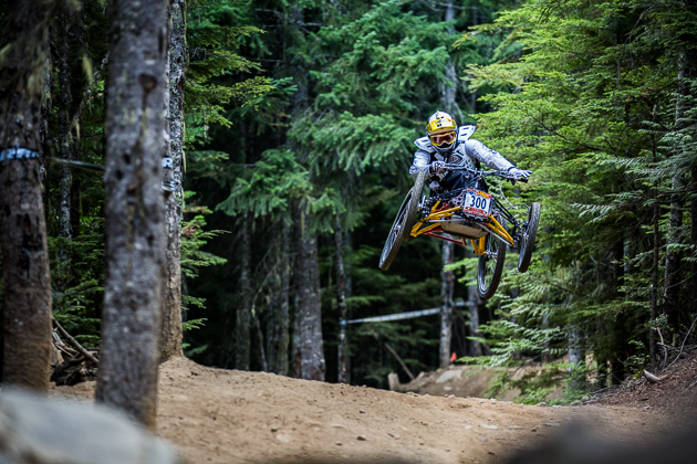 Whistler local legend Stacy Kohut got the Air DH race off to a rowdy start on probably the world's most famous trail. Photo by Anthony Smith.