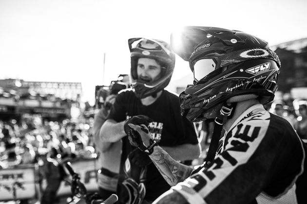 Even though the Crankworx Speed and Style is a contest, at the end of the day it's just another lap down the hill with your buddy. R-Dog and  Barry Nobles fist-bump at the end of the consolation final.