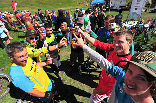 It might be a competition, but enduro racers know how to cheers.