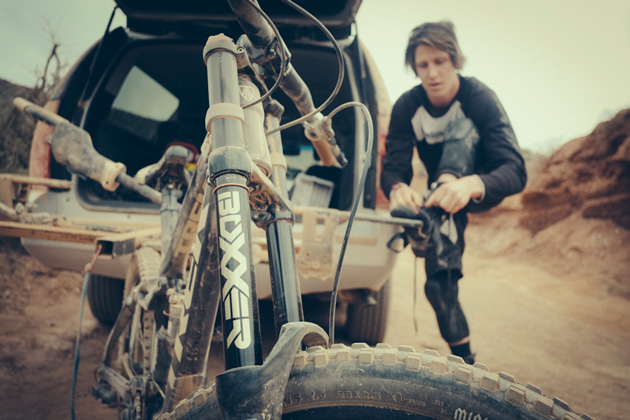 This coming weekend, SRAM and RockShox's star-studded line up of freeride athletes will be ready to take on the RedBull Rampage  in the vast desert of Utah. Riders like Brandon Semenuk, Kyle Strait, Cam Zink, Graham Agassiz, Ryan Howard, Anthony Messere, Kyle Norbraten and Andreau Lacondeguy will take components such as SRAM's X01 DH Drivetrain, SRAM Guide RSC Brakes, Avid Code Brakes, RockShox BoXXer and RockShox Vivid R2C to all new heights as they navigate, launch, flip and send their way off the cliffs of Virgin, Utah. Photo by Adrian Marcoux.