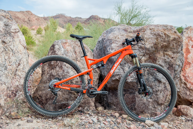 A year after adopting the Split Pivot suspension linkage, the Salsa Cycles Spearfish is now available in two carbon models: the Carbon 1 (pictured here) and the higher-priced Carbon RS-1. The Carbon 1 comes with a Shimano XT drivetrain and costs $4,900 complete.