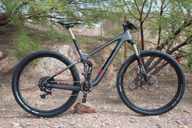 The completely redesigned Marin Rift Zone achieves its 110 millimeters of travel using a pivot-less rear end. The 29er trail bike  comes in 5 models–2 carbon and 3 alloy–ranging in price from $2,200 to $6,600. Pictured is the Marin Rift Zone 9, which sports a SRAM XO build.