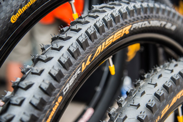 Continental Tires has added two new downhill-oriented tires to their lineup: the Kaiser, center, and the Baron. Weighing only 950 grams, both tires are intended for the downhill racer or aggressive enduro rider and only come in a 2.4-inch width.