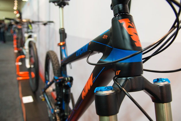 Tapered steerer tubes were found on all of the mountain bike frames on display.