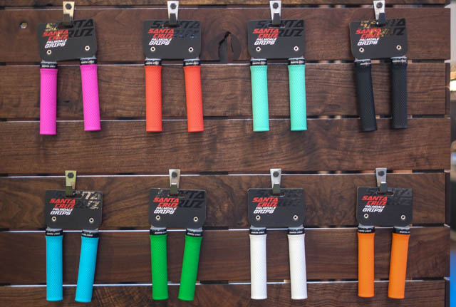 One underlying theme of Eurobike 2014 is colors – everyone's got 'em, and Santa Cruz isn't missing the party. They might even be winning in the color department, with grips to match the drapes.