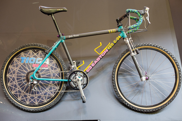 In addition to the much anticipated release of its SB6c, Yeti had John Tomac's iconic drop bar C-26 on display, arguably getting just as much attention.