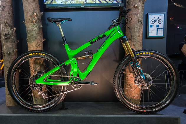 The much anticipated Yeti SB6c made the showcase display at Eurobike. The 6-inch bike–featuring Yeti's new Switch Infinity suspension technology–will be available this fall.