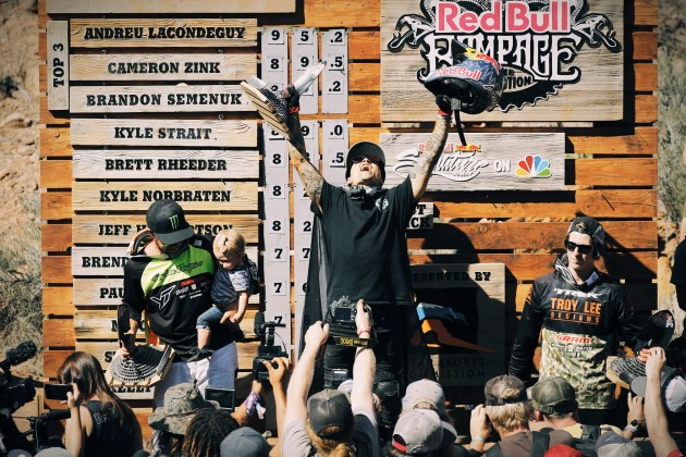 Andreu Lacondeguy is clearly stoked on breaking his three-year fourth place curse. Photo by Anthony Smith.
