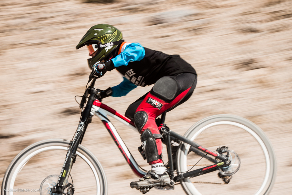 A true Legend of the Kamikaze Downhill race, 52-year-old Cindy Whitehead still hit warp speed during the Kamikaze Downhill at Mammoth Mountain's 2014 Kamikaze Bike Games. Photo by Michael Darter.