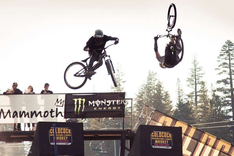 Josh Hult flips his way to victory in the Coldcock Speed and Style competition at Mammoth Mountain's 2014 Kamikaze Bike Games. Photo by Michael Darter.