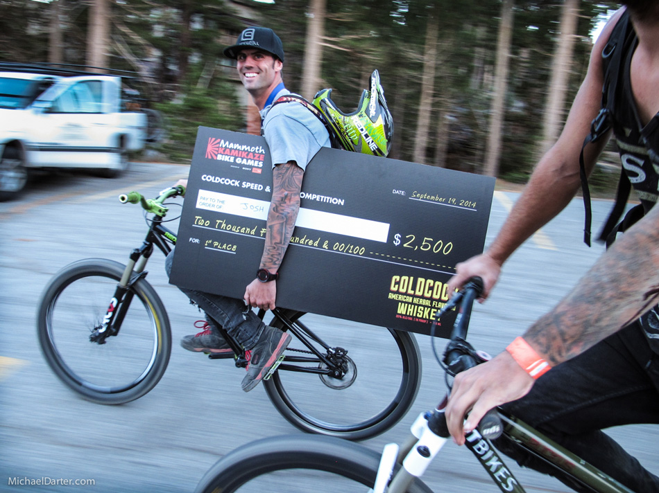 Josh Hult is all smiles after winning the Coldcock Speed and Style competition at Mammoth Mountain's 2014 Kamikaze Bike Games. Photo by Michael Darter.