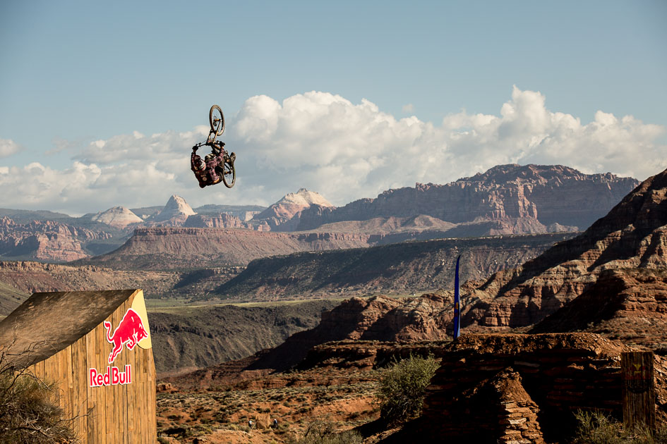 As the first rider in Monday's finals to hit the canyon gap, first-time Rampage contestant Jeff Herbertson set the tone by landing a massive backflip. He repeated the feat on his second run and secured a solid seventh-place finish in his debut Rampage effort.