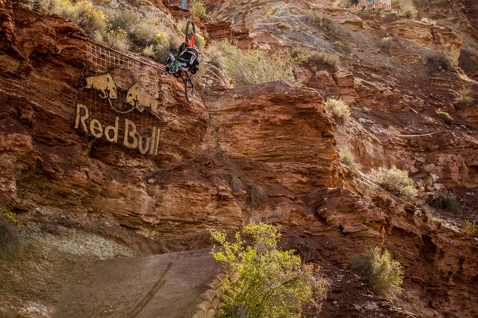 Brett Rheeder was another one of the heavies throwing down big tricks off some seriously big features, doing seemingly effortless backflips and 360s off the jumps toward the top of his line.