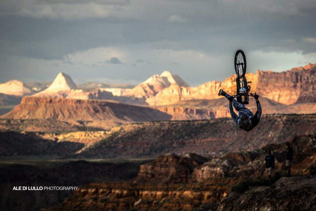 Semenuk's signature can-can backflip helped into a third-place finish at Red Bull Rampage. Photo by Ale Di Lullo.