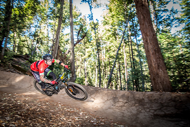 John Hauer (Muscle Milk/Specialized) defended his Santa Cruz Super Enduro title and took home gold on Saturday. Only 3 seconds separated him and 2nd place, Jeff Kendall-Weed (Ibis). Times were tight- the top 5 Pro Men were separated by only 22 seconds. PHOTO: Called To Creation