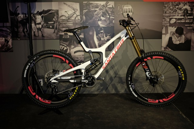 The new V10 was one of the party's main attractions. Santa Cruz's venerable downhill bike showed off its full carbon-fiber, 650B makeover.
