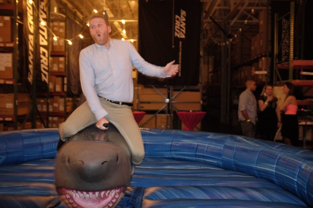 Santa Cruz's Colin Lambing shows the mechanical shark who's boss. Or is it the other way around?