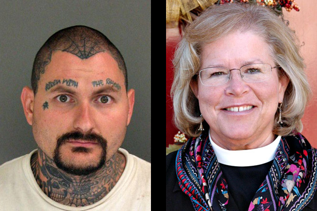 On the left, Jeremy Anecito: the guy who donned a clown mask and attempted to kill a cyclist in Santa Cruz by running him down in his pickup truck. On the right, Bishop Heather Cook killed cyclist Thomas Palermo last month during a hit-and-run collision. We cyclists face all kinds of dangers from motorists, both the outright crazy kind and the Bishop-next-door kind.