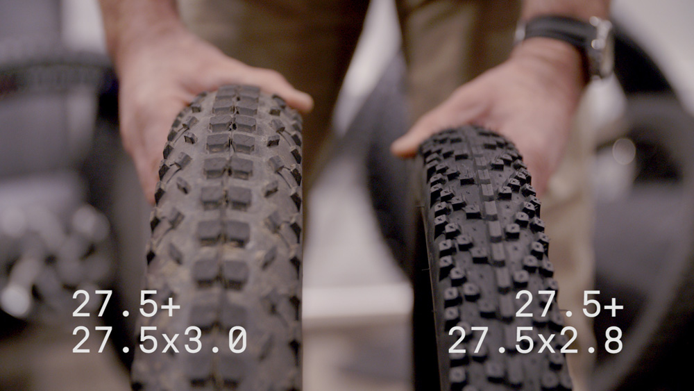 There is a flood of new 27.5+ tires hitting the market, but they vary wildly in size and shape. Both of these tires are, theoretically, 27.5+, but they are going to lead to a very different experience out on the trail.