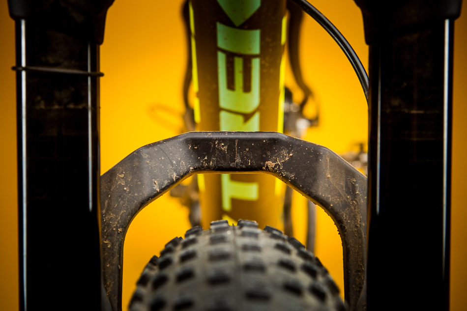 Whether or not the plus-size thing actually takes off will hinge on whether or not companies can produce three-inch tires that don't weigh a ton and yet withstand hard riding. Trek's 29x3.0 Chupacabra weighs less than 900 grams. Impressive. We'll see how it holds up. Photo by Van Swae